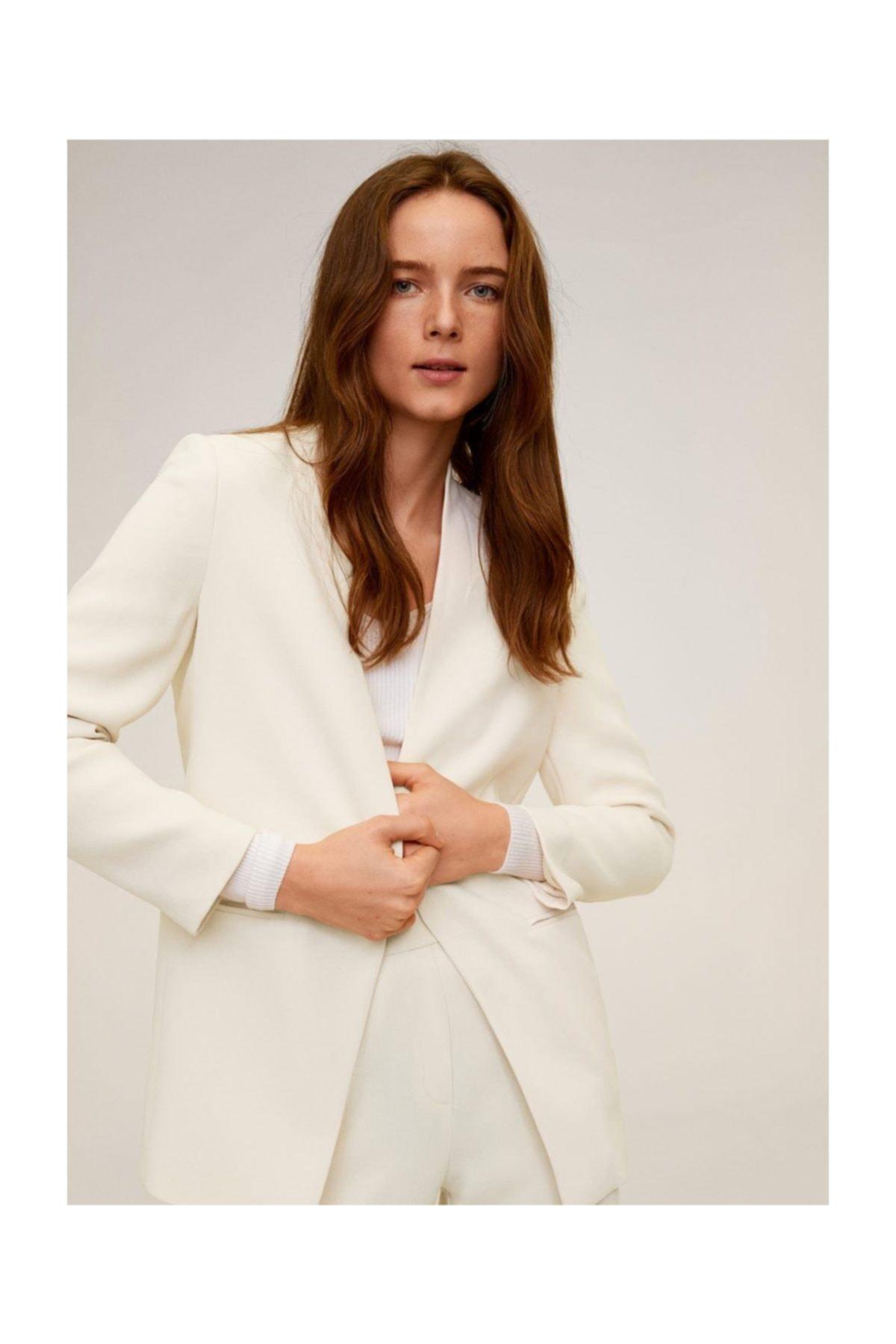 MANGO Woman Kadın Ekrü Krep Blazer Ceket 67024007 1