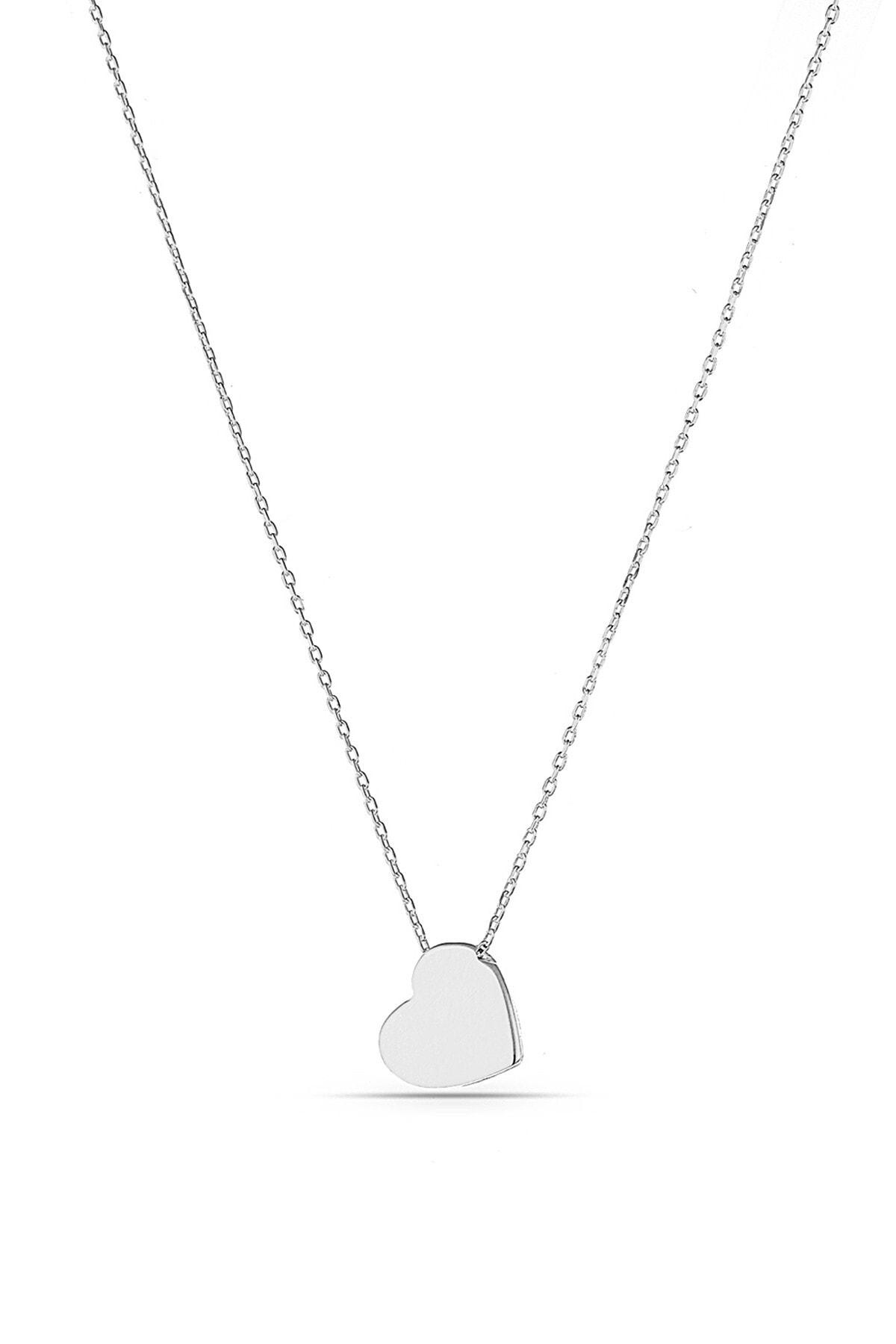 MySilvers Kadın Gümüş Minimal Kalpli Kolye 1