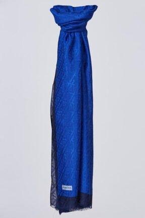 Armine Mavi Pamuk Floş Monogram Şal