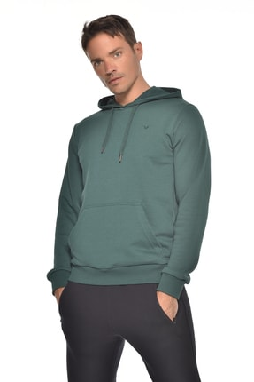 bilcee Yeşil Erkek Kapüşonlu Sweatshırt GW-8755