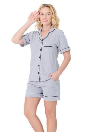 CULOTTE Kadın Gri Siyah Biye Detaylı Önden Düğmeli Penye Şort Pijama Takım