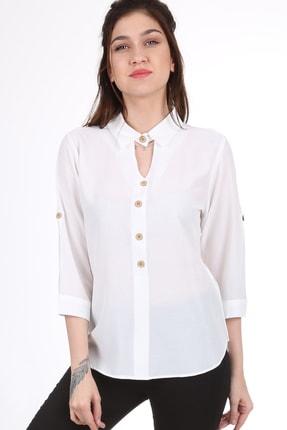 Bigdart Kadın Beyaz Gömlek Yaka Tahta Düğme Bluz 3658