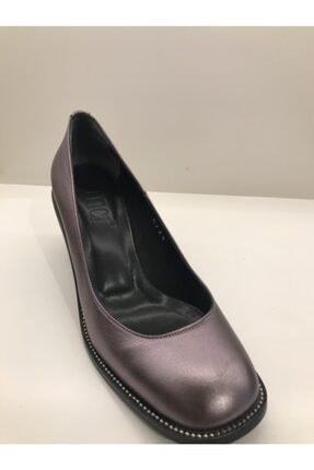 İnci Kalın Platin Topuklu Ayakkabı