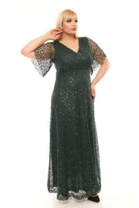 FİDAN TEKSTİL Kadın Yeşil Uzun Degaje Abiye Elbise