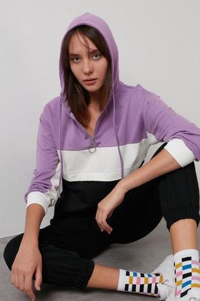 Lela Kadın Lila Pamuklu Renk Bloklu Fermuarlı Kapüşon Yaka Sweatshirt 5863813