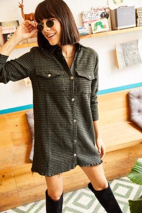 Olalook Kadın Haki Cepli Kazayağı Kaşe Tunik Elbise ELB-19001306