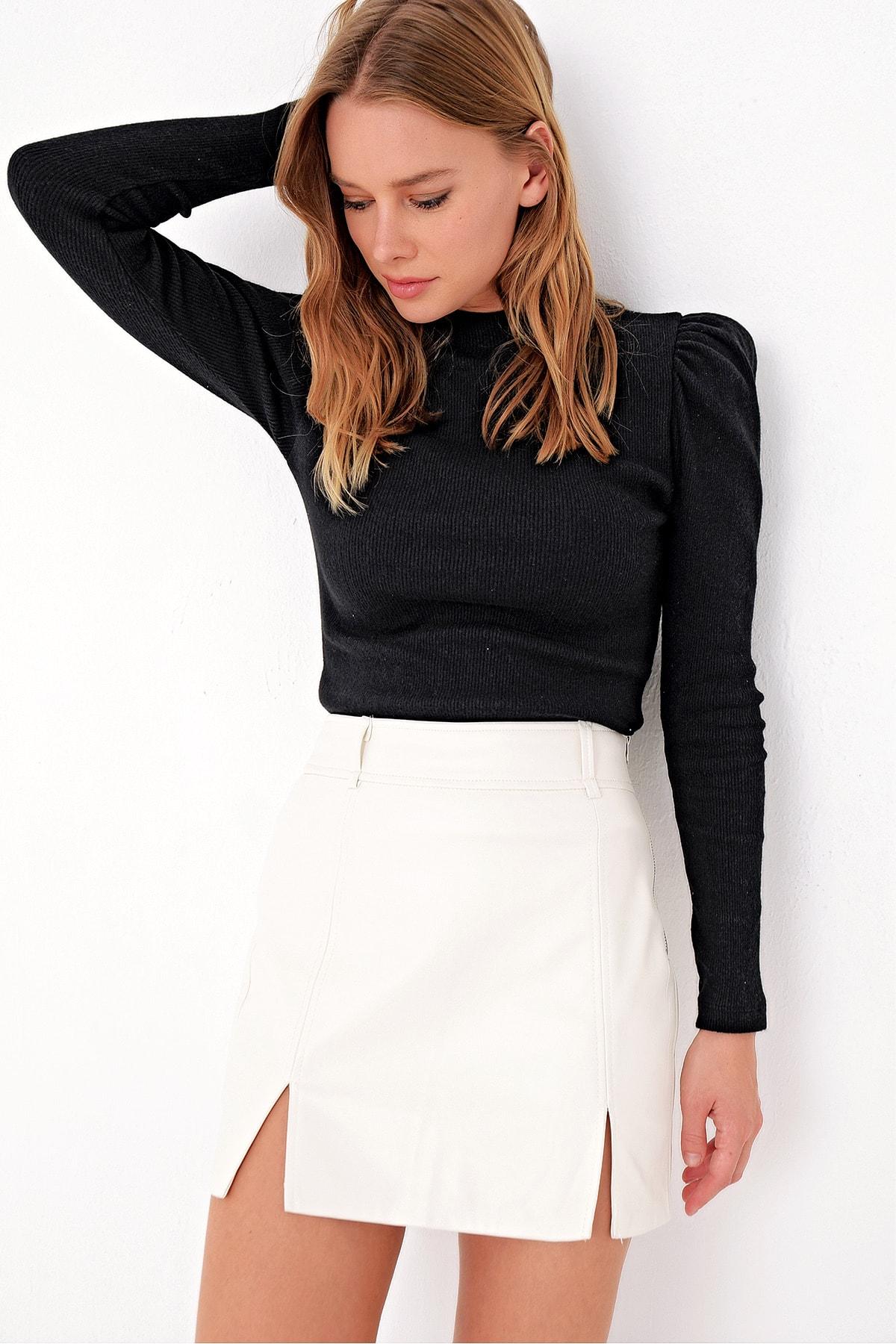 Trend Alaçatı Stili Kadın Siyah Prenses Kol Yarım Balıkçı Şardonlu Crop Bluz ALC-X5042 1