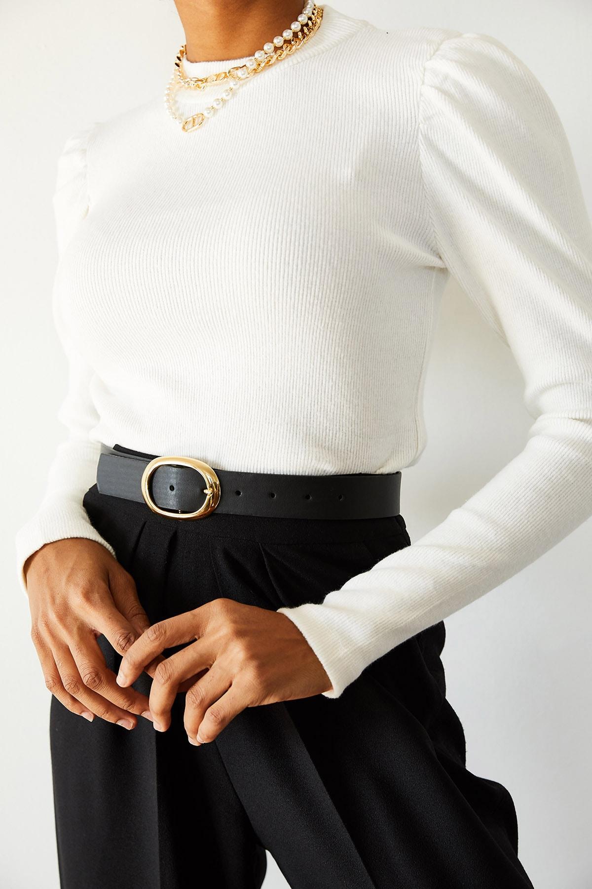 XENA Kadın Beyaz Omuzları Büzgülü Bluz 1KZK3-10750-01 2
