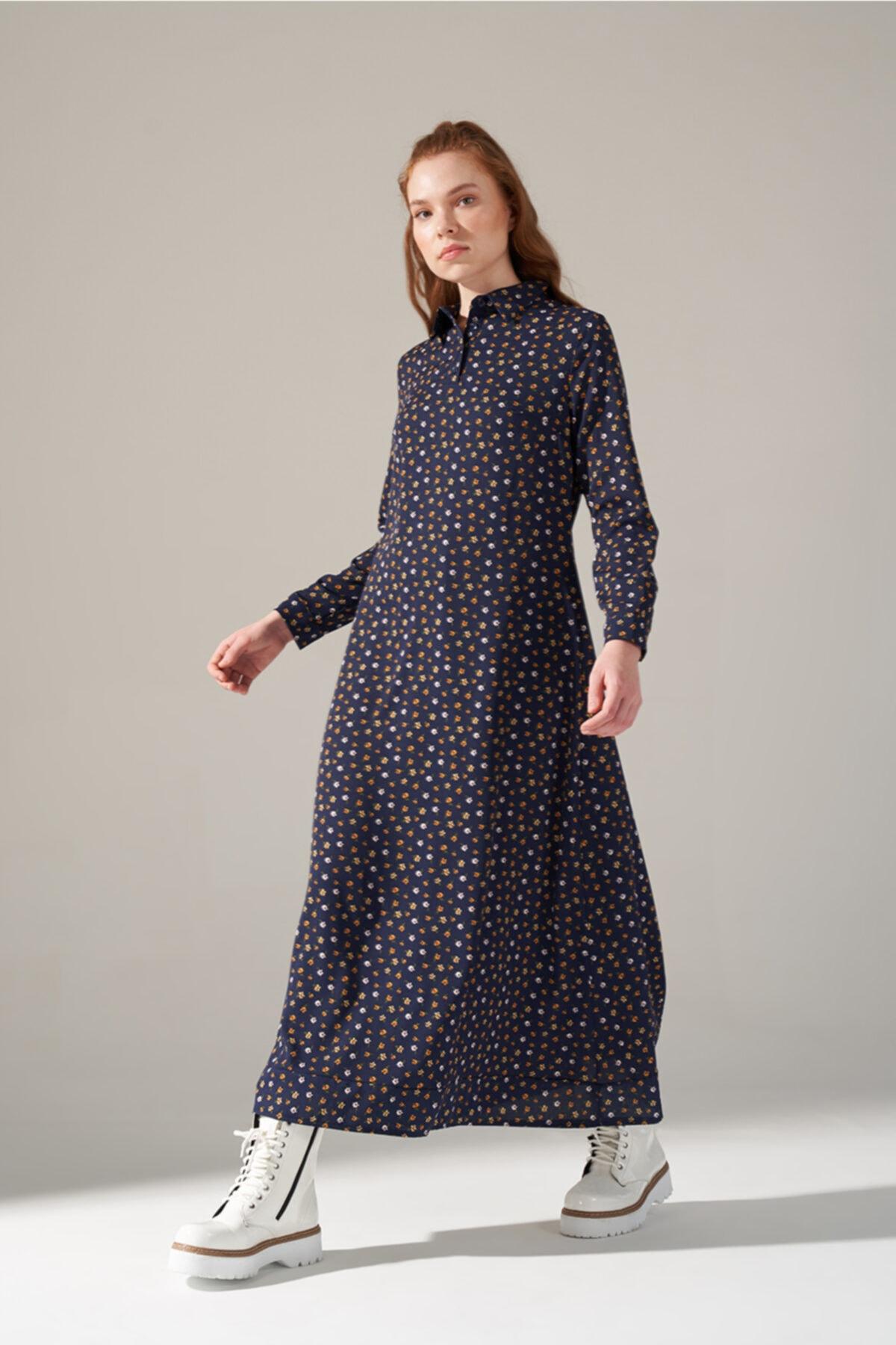 Mizalle Youth Kadın Mor Desenli Gömlek Yaka Elbise 1