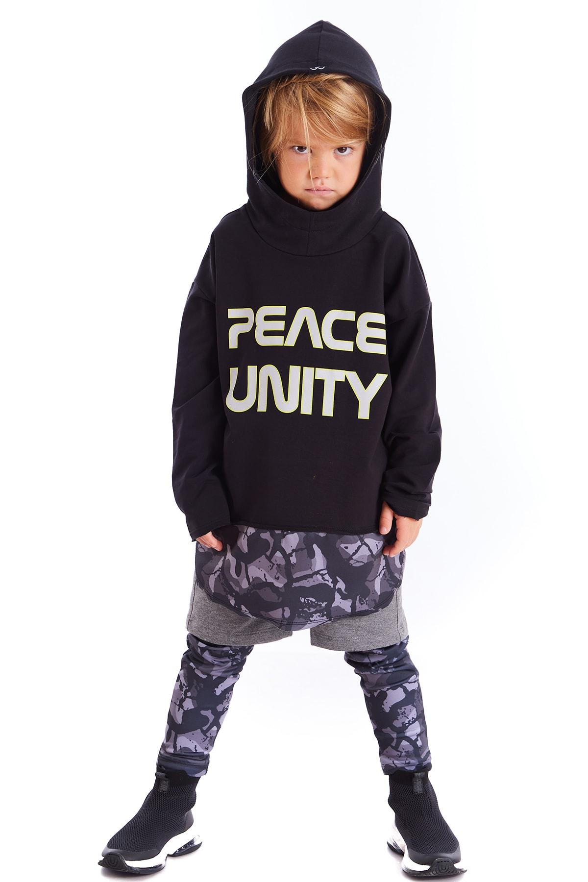 Colorinas Çocuk Siyah Unity Slogan Baskılı Sweatshirt 1