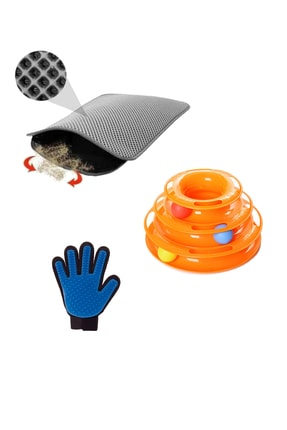 Miapet Tower Of Tracks Kedi Oyuncağı + Elekli Kedi Tuvalet Paspası (Gri) + Tüy Toplama Eldiveni