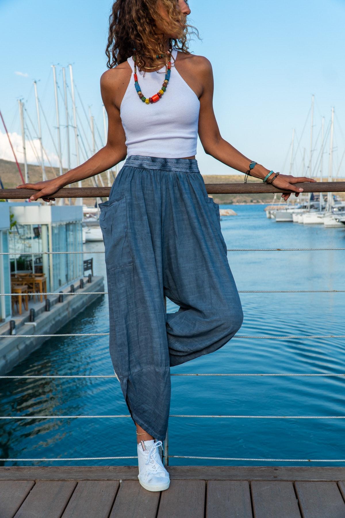 Güneşkızı Kadın İndigo Yıkamalı Keten Cepli Beli Lastikli Şalvar Pantolon GK-CCK58048ND