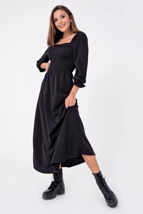By Saygı Kadın Siyah Önü Büzgülü Gipeli Uzun Elbise S-21K3500008