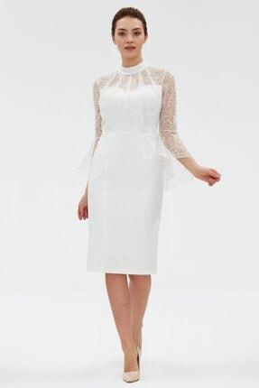 ESCOLL Kadın Ekru Yaka Ve Beli Dantel Detaylı Incili Elbise1622