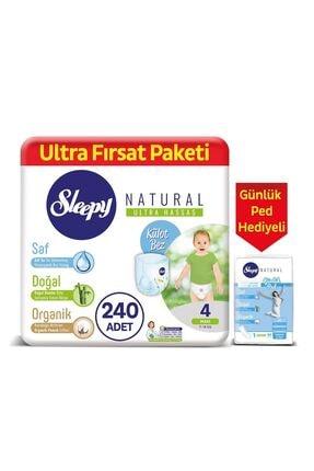 Sleepy Natural Külot Bez 4 Numara Maxi 240 Adet + Natural Günlük Ped Normal 40 Adet