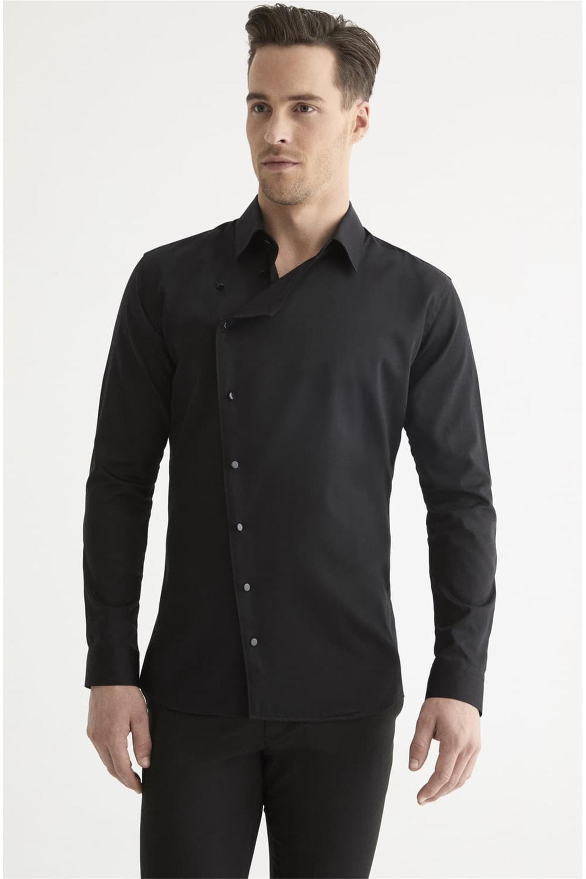 Efor G 1445 Slim Fit Siyah Spor Gömlek
