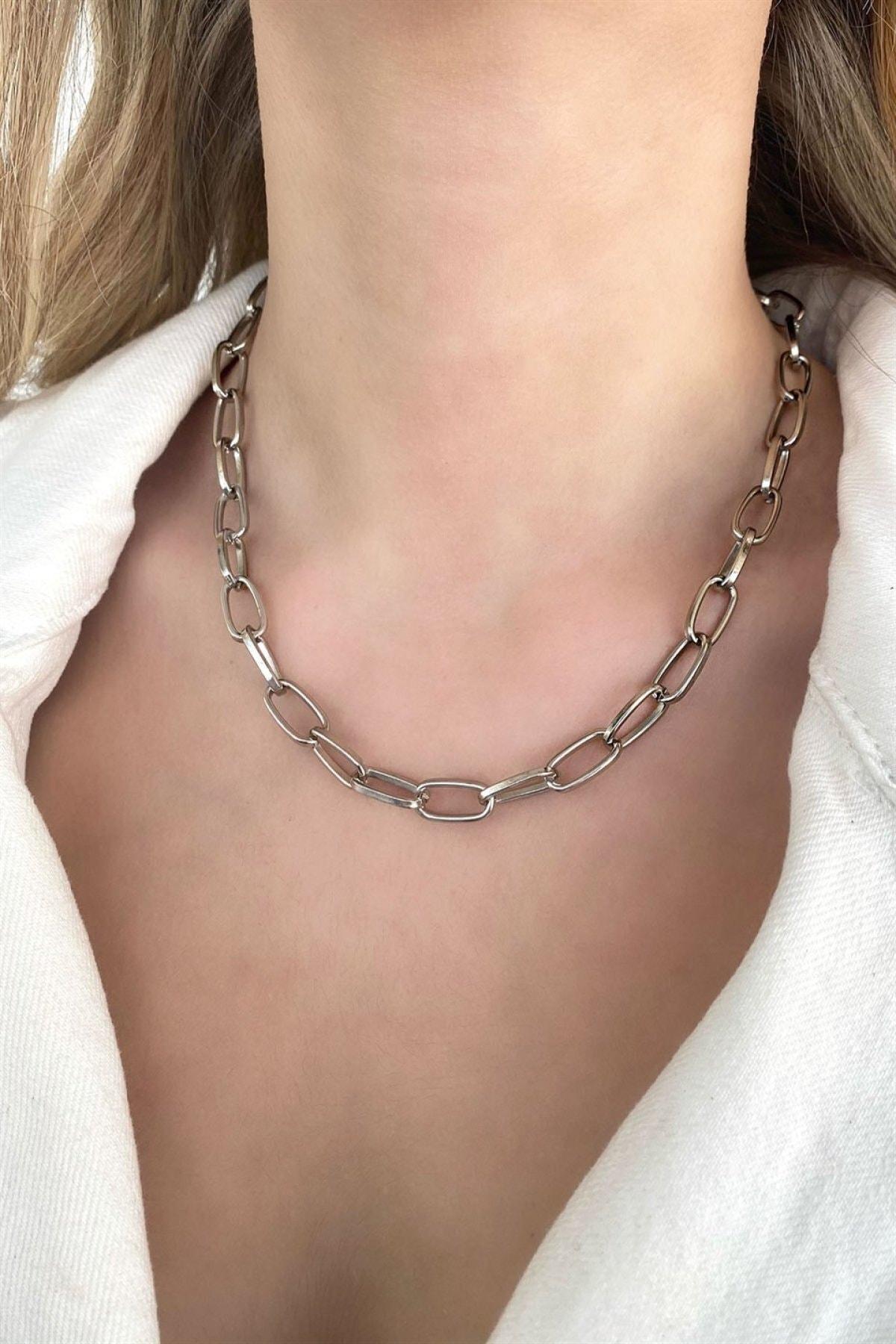 TAKIŞTIR Gümüş Renk Zincir Kolye 2