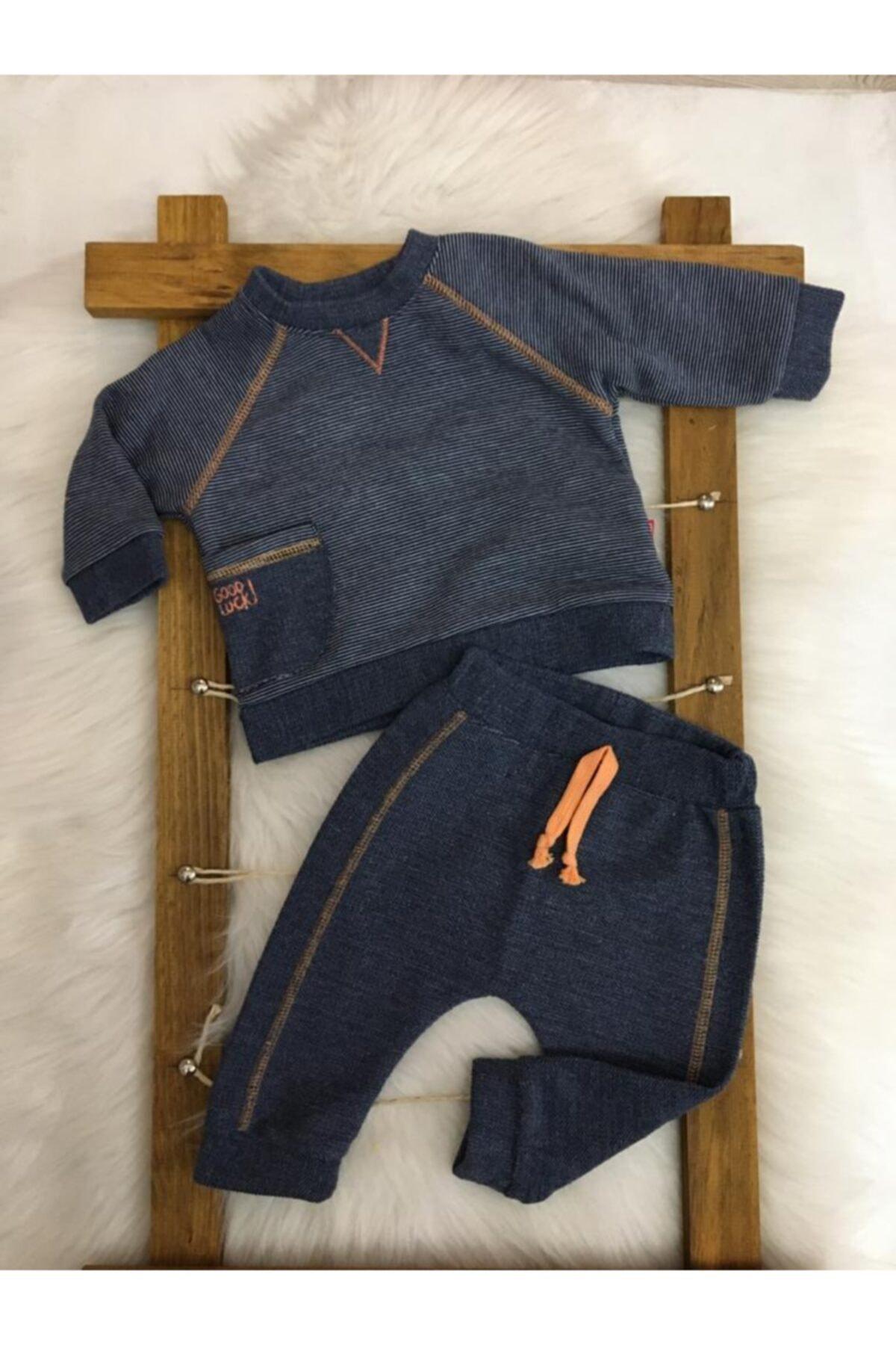 Bebetto Erkek Bebek Üç Iplik Sweat Lacivert 2'li Takım 1