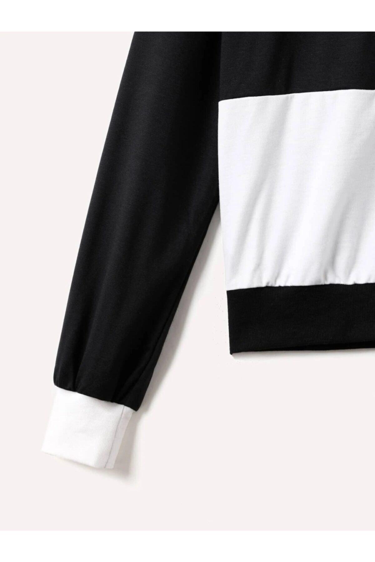 Newear Kadın Siyah/ekru Sweatshirt,000285 2