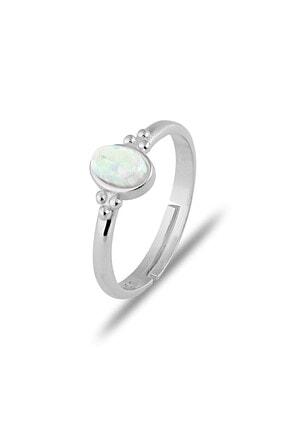 MySilvers Elips Beyaz Opal Yüzük