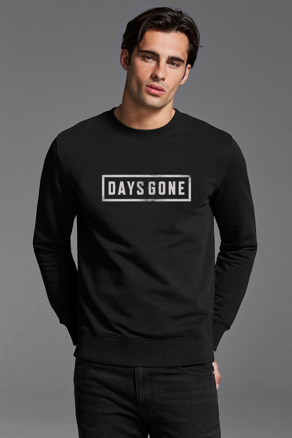 QIVI Days Gone Logo Baskılı Siyah Erkek Örme Sweatshirt Uzun Kol 1