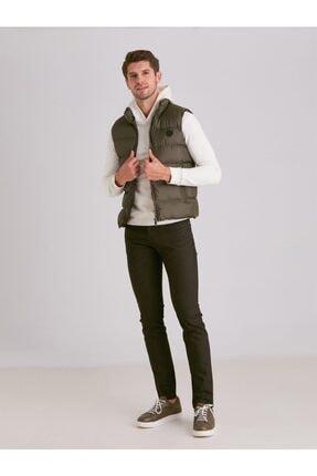 Dufy Haki Viskon Karışımlı Şişme Erkek Yelek - Modern Fit