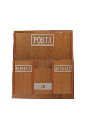 SELENA Ahşap Ortak Fatura Ve Posta Kutusu 2 Renk Ceviz Akça