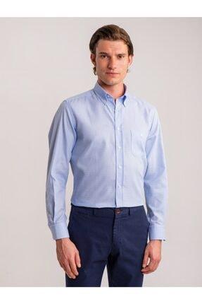 Dufy Mavi Kareli Pamuklu Klasik Büyük Beden Erkek Gömlek - Battal