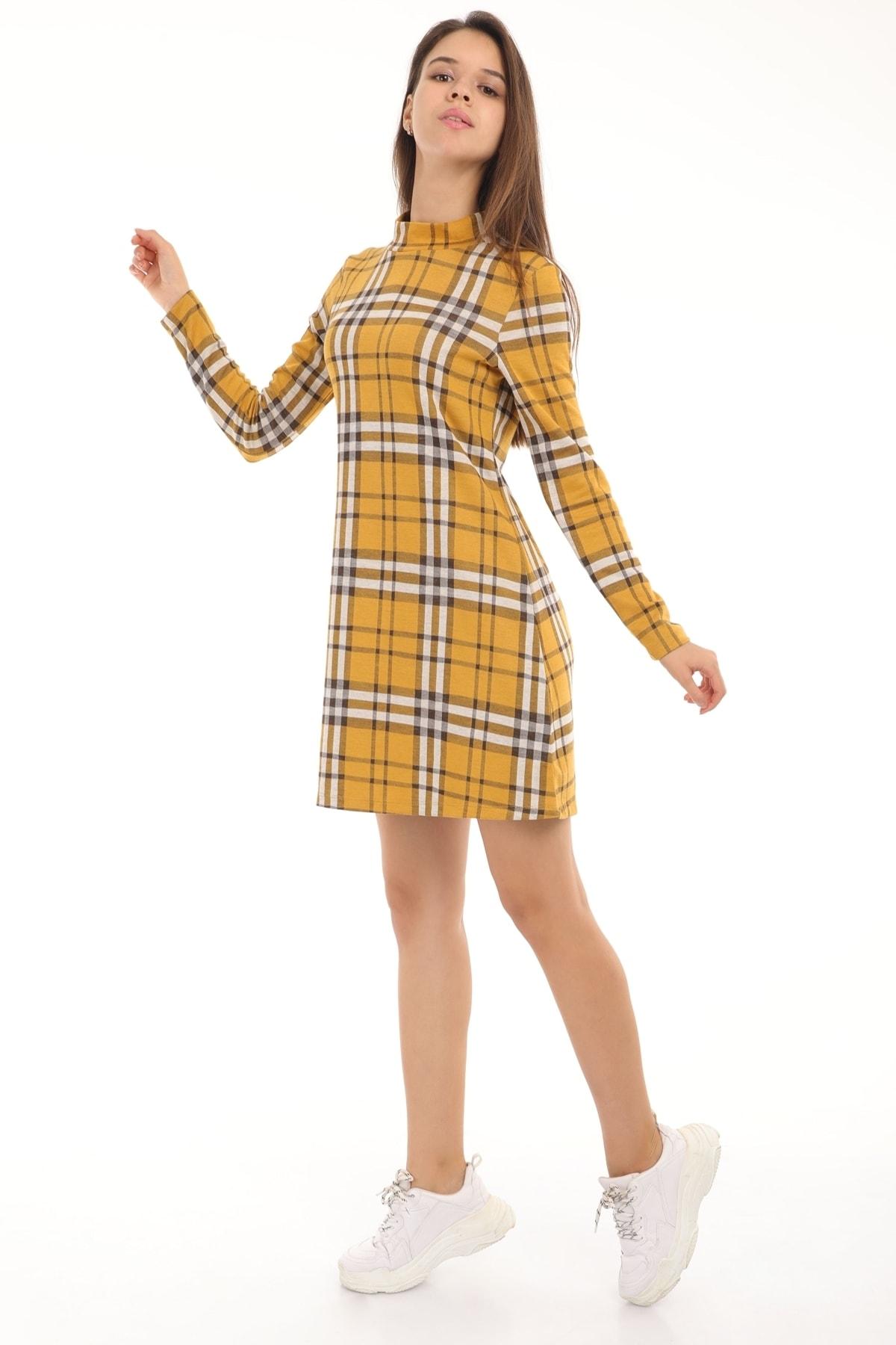 MD trend Kadın Hardal Dik Yaka Ekose Desenli Elbise 2