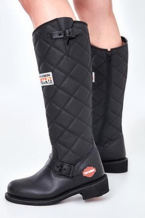 Harley Davidson Laconia Black Deri Kadın Çizme