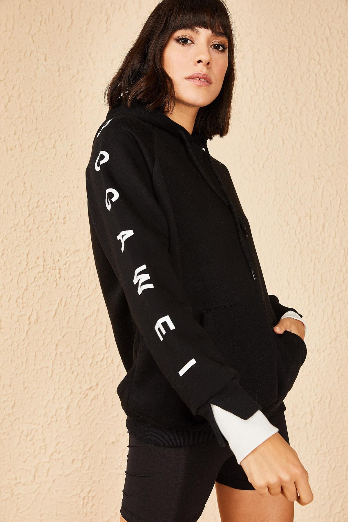 Bianco Lucci Kadın Siyah İkili Manşet İçi Pamuklu 3 İplk Sweatshirt 10171012