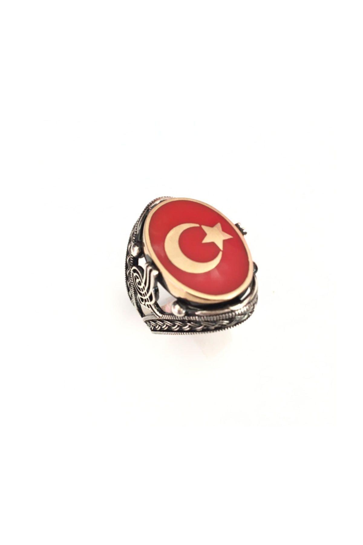 Makeuptime Erkek 925 Ayar Türk Bayraklı Gümüş Yüzük 1