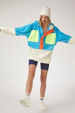Happiness İst. Kadın Mavi Blok Renkli Oversize Polar Sweatshirt OX00018