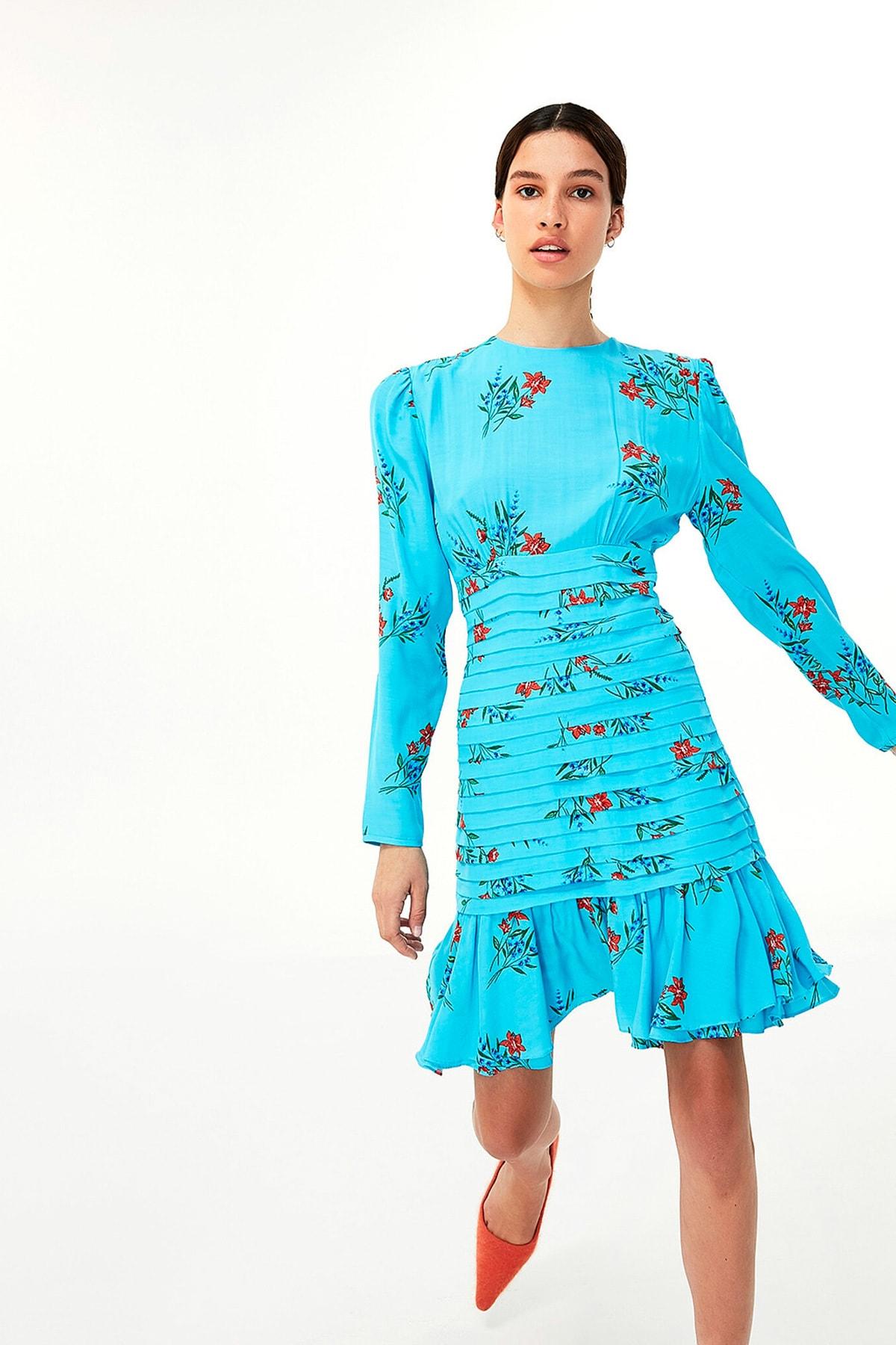 Twist Kadın Mavi Çiçek Desen Elbise TW6200002143 1