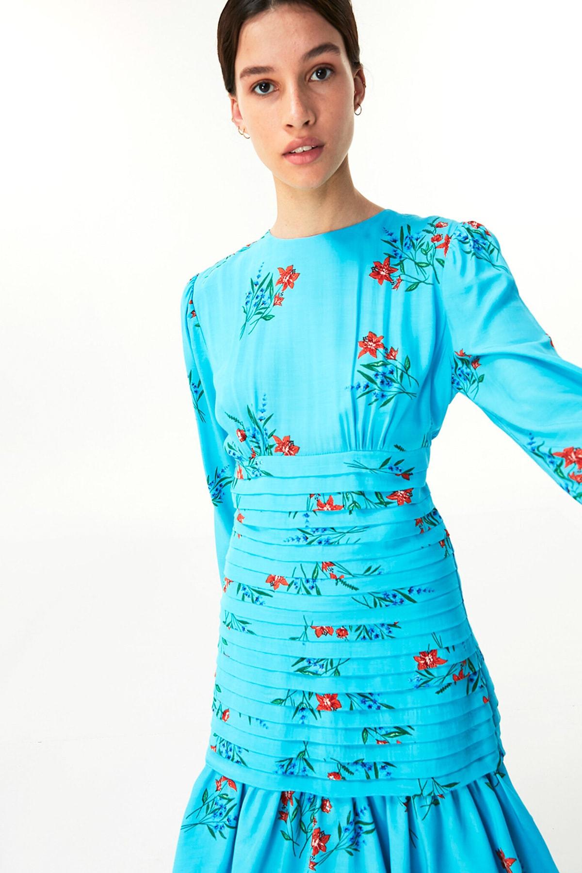 Twist Kadın Mavi Çiçek Desen Elbise TW6200002143 2