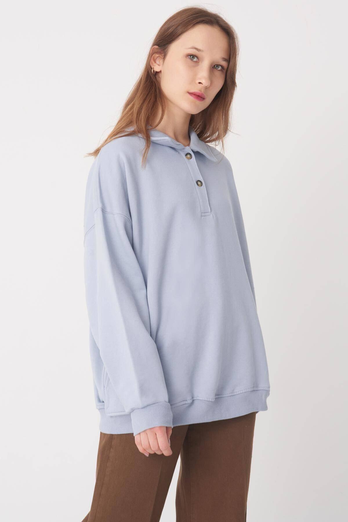Addax Kadın Buz Mavi Gömlek Yaka Sweatshirt S0703 1