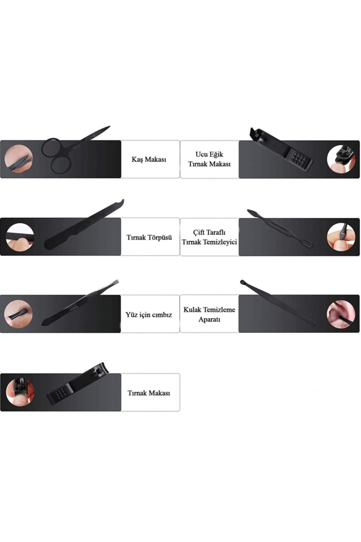 Chavin Deri Çantalı Siyah 7 Parça Manikür Set Tırnak Makası Seti Cin288 2