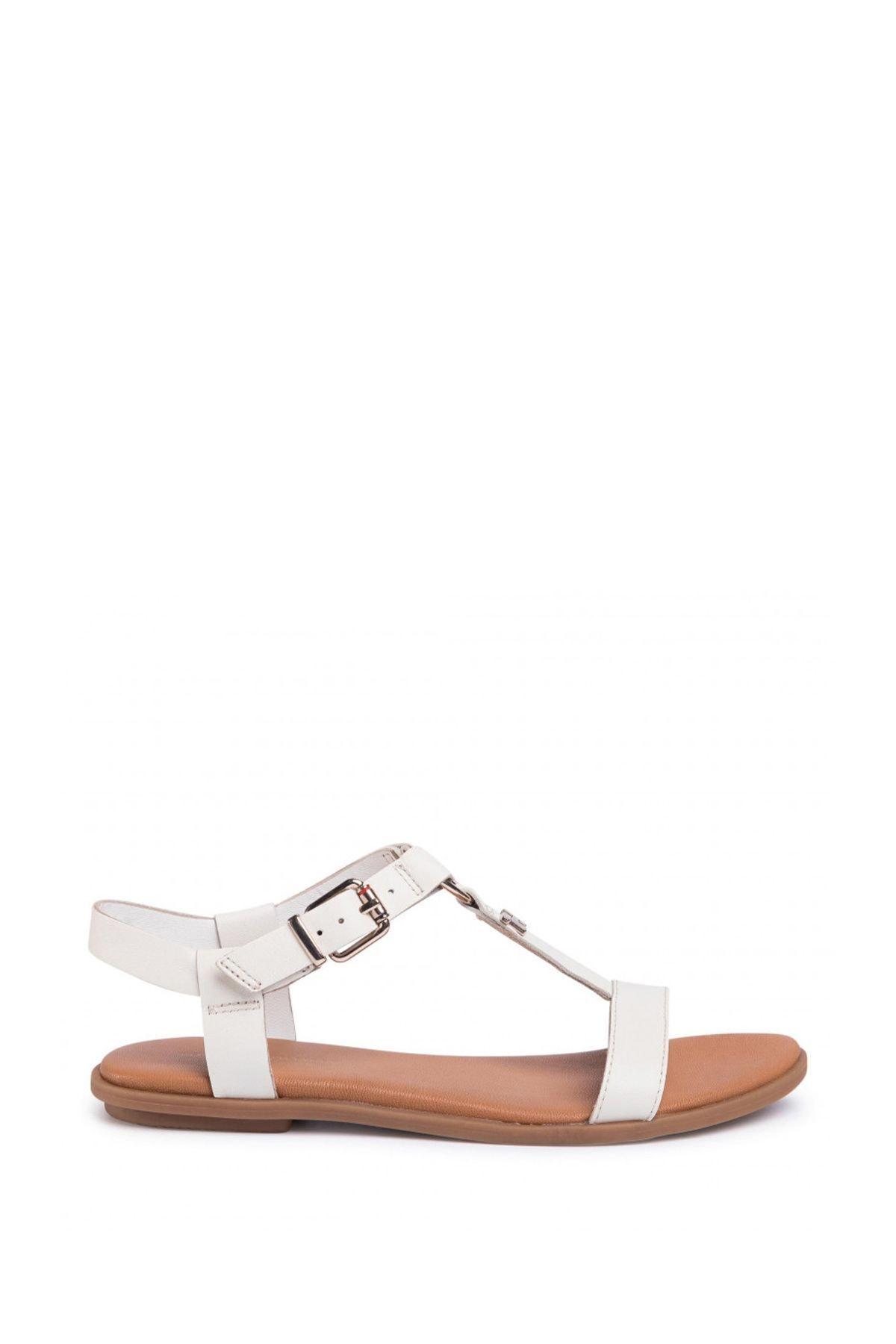 Tommy Hilfiger Kadın Ekru Feminine Leather Flat Sandalet Fw0fw04882 2
