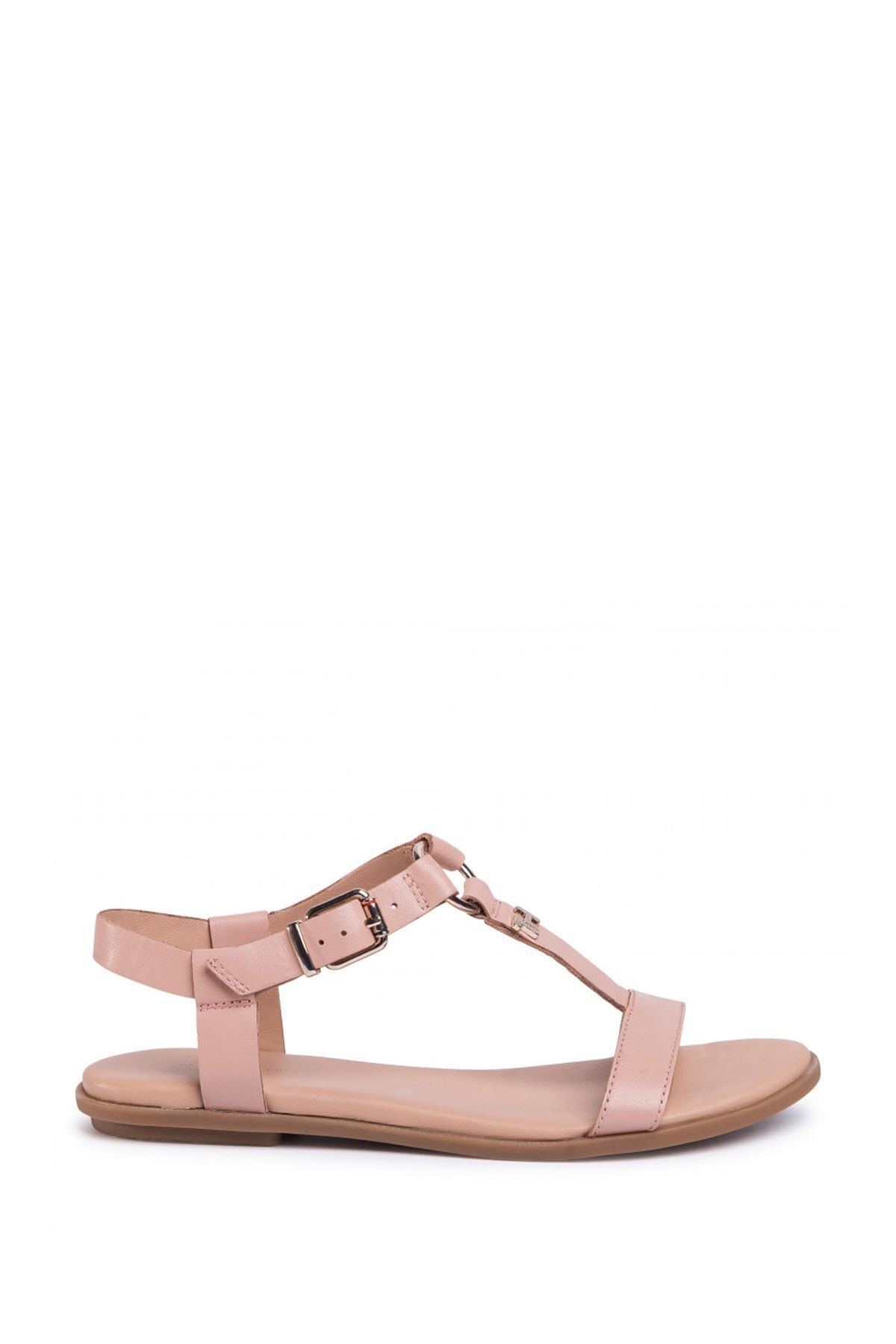Tommy Hilfiger Kadın Bej Feminine Leather Flat Sandalet Fw0fw04882 2