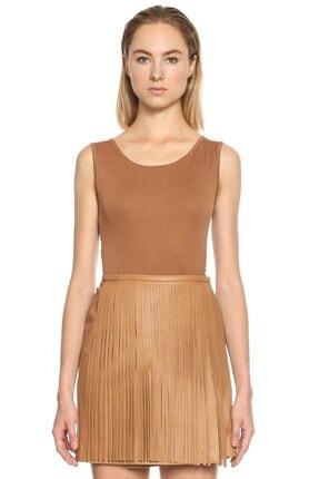 Marc Cain Kadın Kahverengi Dantel Detaylı Bluz