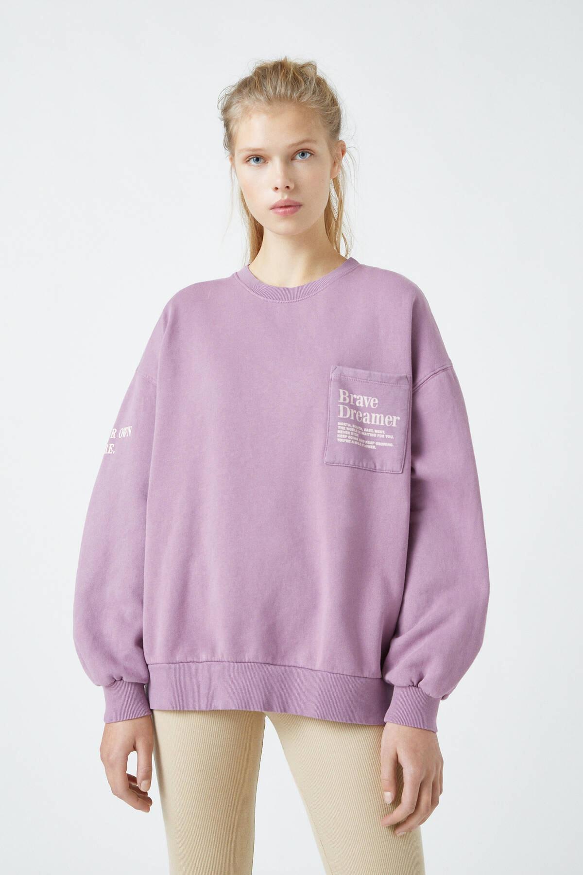Pull & Bear Kadın Koyu Leylak Grafik Baskılı Ve Cepli Koyu Leylak Rengi Sweatshirt 09594363