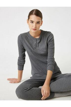 Koton Kadın Gri Pamuklu Uzun Kollu Pijama Üstü