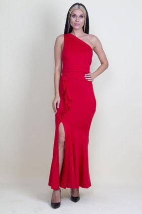Şans Kadın Kırmızı Volan Detaylı Tek Omuz Abiye Elbise