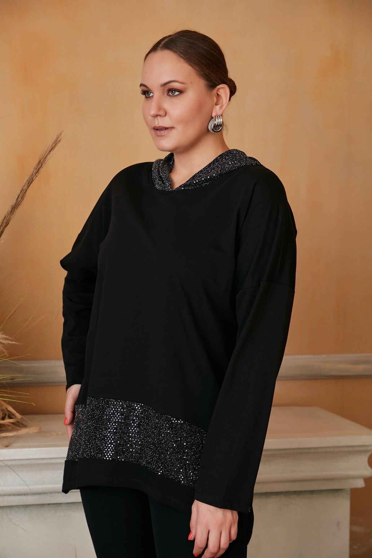 RMG Kadın Siyah Kapşon Ve Eteği Pullu Büyük Beden Sweatshirt 2