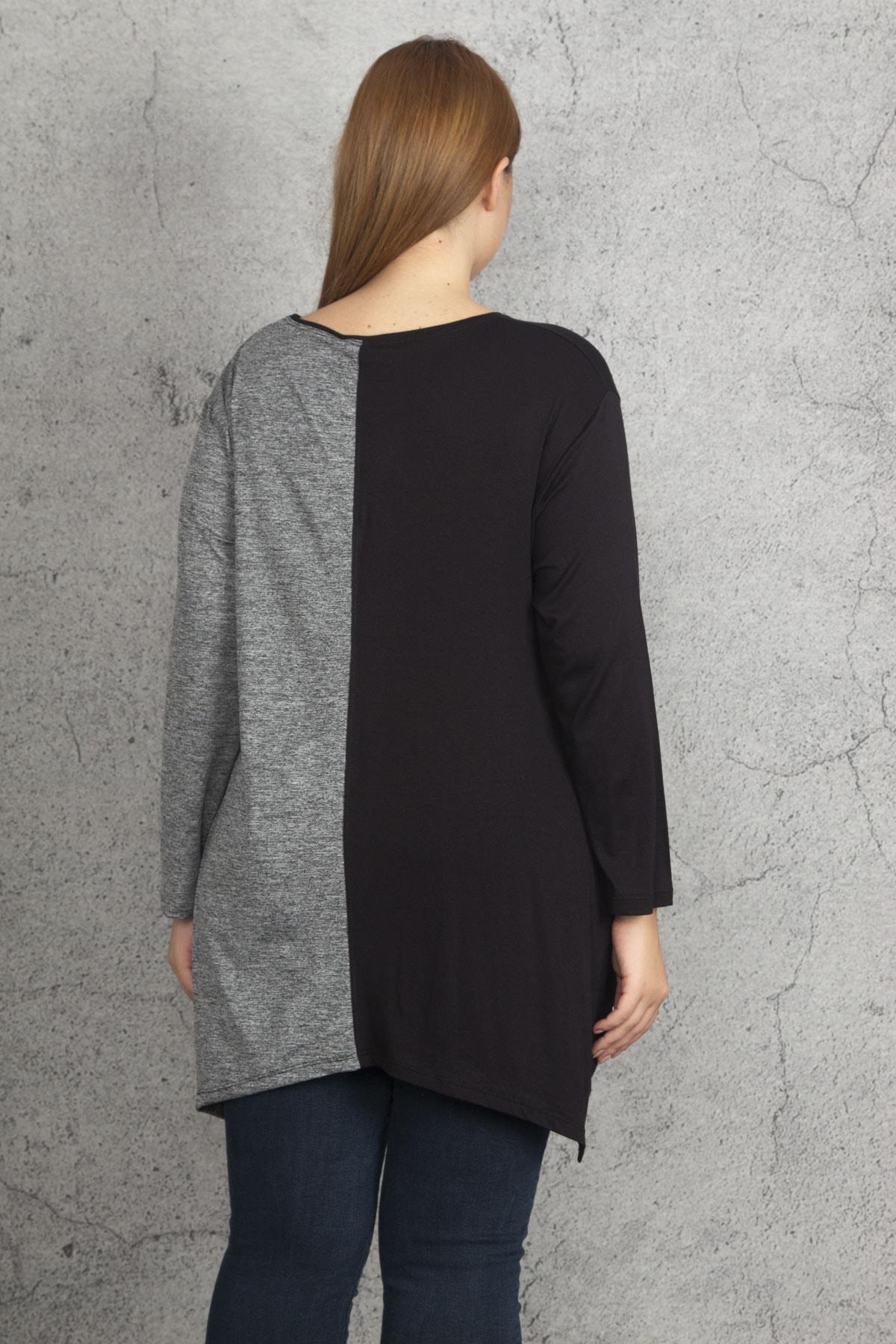 Şans Kadın Siyah İki Renkli Taş Ve Cep Detaylı Tunik 65N19686 2