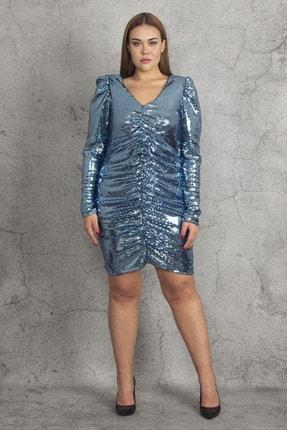 Şans Kadın Mavi Ko Ve Ön Büzgü Detaylı Astarlı Payet Elbise 65N19783