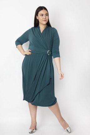 Şans Kadın Yeşil Bel Detaylı Abiye Elbise 65N19418