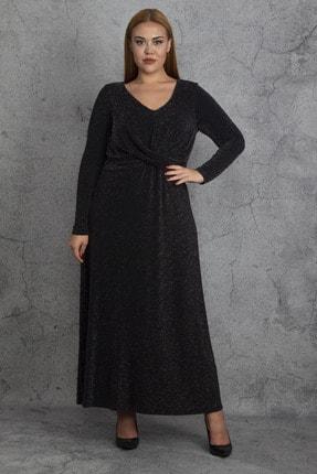 Şans Kadın Siyah Bel Detaylı Simli Elbise 65N19524