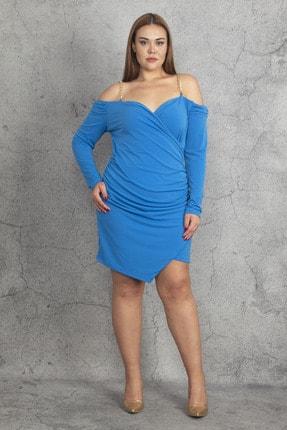 Şans Kadın Mavi Zincir Askılı Anvelop Yaka Kol Detaylı Elbise 65N19769