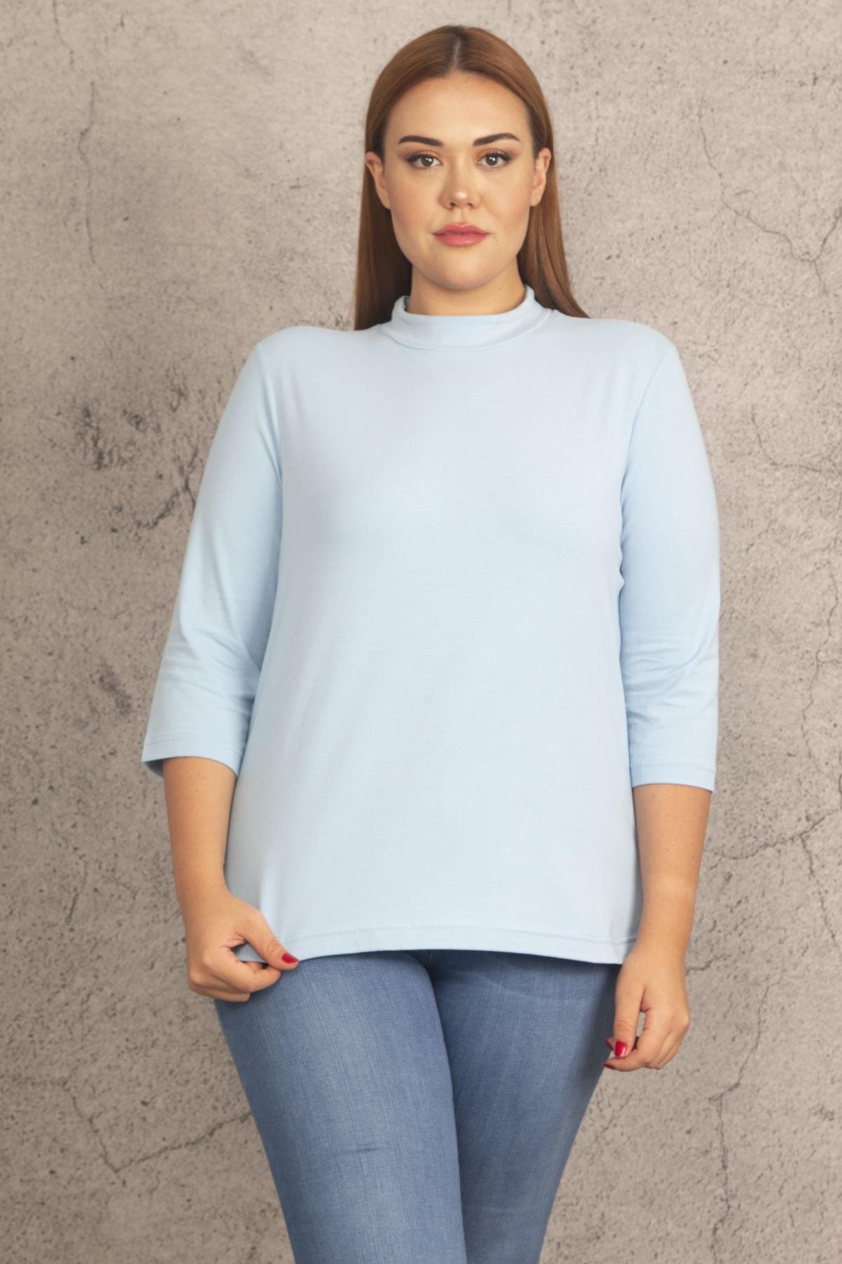 Şans Kadın Mavi Pamuklu Kumaş Balıkçı Yaka Bluz 65N19764 1